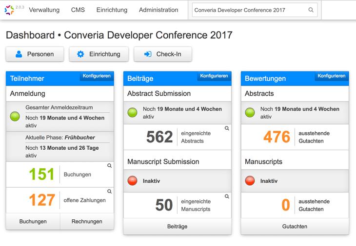Externe Zahlungsabwicklung - Converia Dashboard