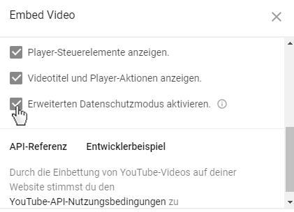 Erweiterter Datenschutzmodus YouTube