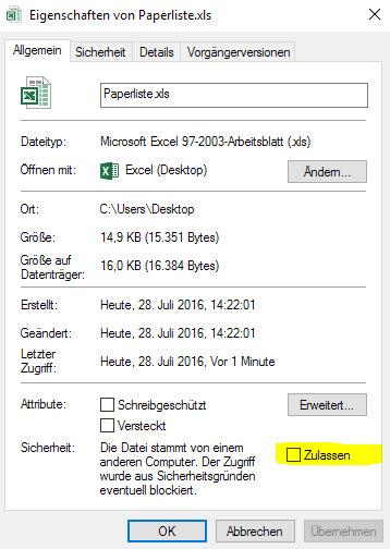 Export-Dateien zulassen
